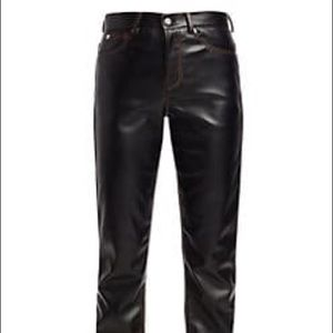 Versace Size 34 Pleather Pants Black
